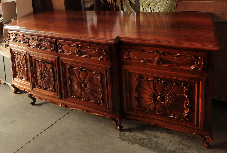 Mobile basso sala salotto barocco legno intagli decori for Mobile basso da sala