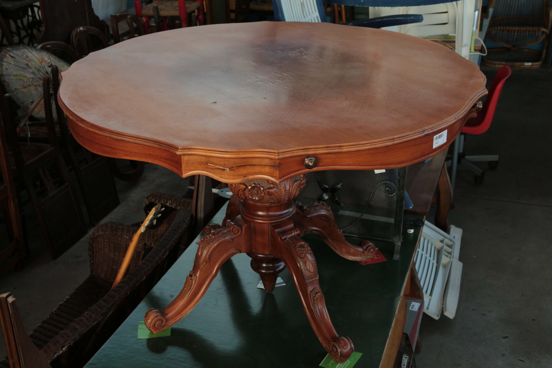Tavoli Rotondi In Stile.Tavolo Rotondo Sala Salotto Legno Stile Barocco Vintage 900