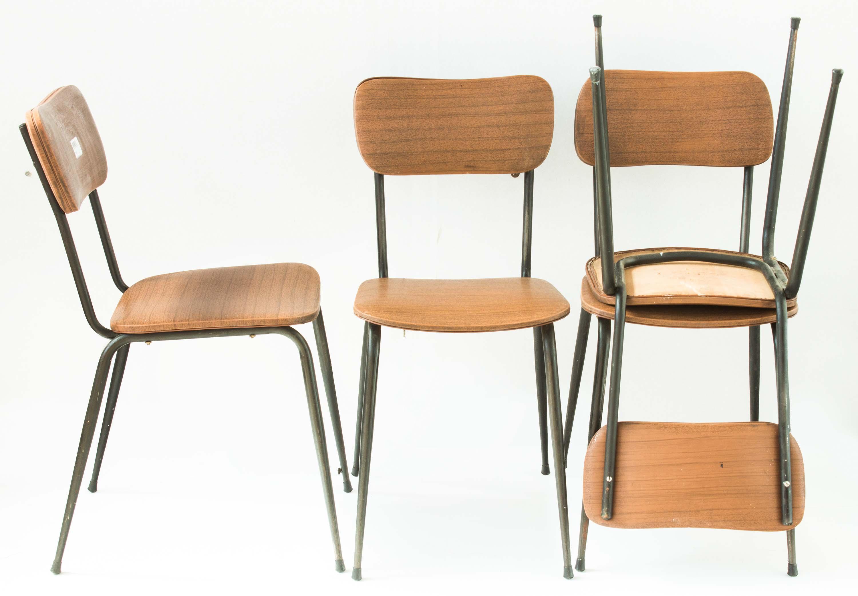 4 sedie ecopelle piedi spillo anni 50 60 vintage | Mercatino ...